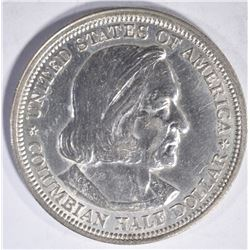 1893 COLUMBIAN COMMEM HALF DOLLAR, GEM BU