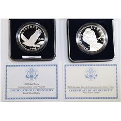 2008 BALD EAGLE & 2009 LINCOLN PROOF COMME SILVER