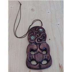 Maori Carved Pendant w/Shell Eyes