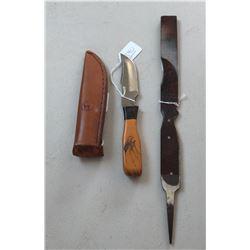 Custom Anza Bowie Knife w/Scabbard and Scrimshaw