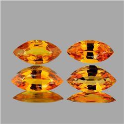 NATURAL GOLDEN ORANGE SAPPHIRE 4 Pcs 6x3 MM