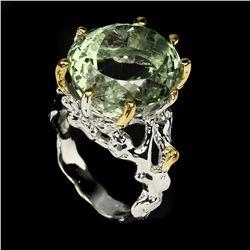 Natural Handmade Oval 18x16mm Green Amethyst Ring