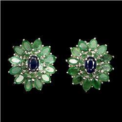 Natural Columbian Emerald & Sapphire Earring