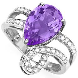 Stunning Natural Amethyst & Diamond Ring
