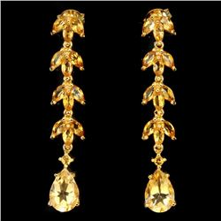 Natural 10x7mm Top Rich Yellow Citrine Earrings