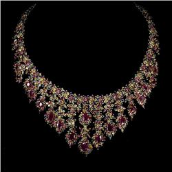 Natural Top Red Ruby & Fancy Sapphire 728 Cts Necklace