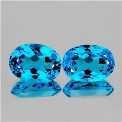 Natural Baby Swiss Blue Topaz Pair 13.55 Cts - VVS