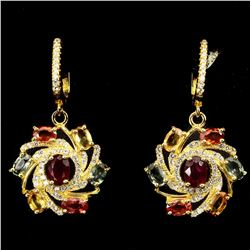 Natural Oval 6x4mm Blood Red Ruby Sapphire Earrings
