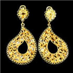 Natural 6x4mm Top Yellow Citrine Black Spinel Earrings