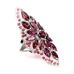 Natural Marquise Cut 8x4mm Rhodolite Garnet Ruby Ring