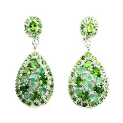 Natural Green Chrome Diopside & Emerald Earrings