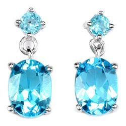 Natural SWISS BLUE TOPAZ OVAL & ROUND Earrings