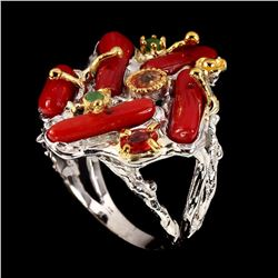 Natural Red Coral Emerald Sapphire Ring