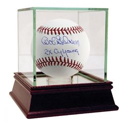 Bob Gibson Signed Baseball Inscribed  2x Cy Young  with High Quality Display Case (Steiner COA)