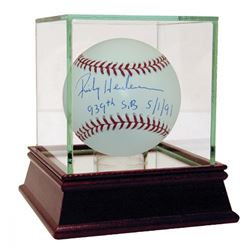 "Rickey Henderson Signed MLB Baseball Inscribed ""939th SB""  ""5/1/91"" with High Quality Display Case ("
