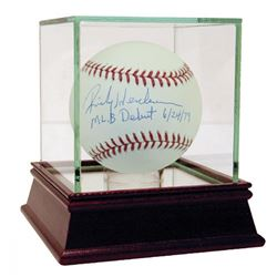 "Rickey Henderson Signed Baseball Inscribed ""MLB Debut 6/24/79"" with High Quality Display Case (Stein"