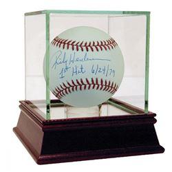 "Rickey Henderson Signed Baseball Inscribed ""1st Hit 6/24/79"" with High Quality Display Case (Steiner"