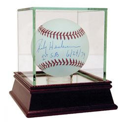 "Rickey Henderson Signed Baseball Inscribed ""1st SB 6/24/79"" with High Quality Display Case (Steiner"