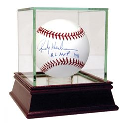 "Rickey Henderson Signed Baseball Inscribed ""AL MVP 1991"" with High Quality Display Case (Steiner COA"