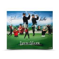 Tiger Woods  Gary Player Signed Double Major 20x24 Photo (UDA COA)