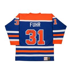Grant Fuhr Signed Oilers Authentic Mitchell  Ness Jersey Inscribed  HOF 03  LE 31 (UDA COA)