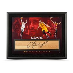 "Kevin Love Signed Cavaliers ""Power Forward"" 24x36 Custom Framed NBA Game-Used Floor Display LE 50 (U"