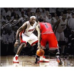 LeBron James Signed Heat 16x20 Photo with Derrick Rose (UDA COA)