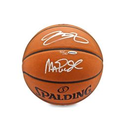 Magic Johnson  LeBron James Signed LE Spalding Basketball (UDA COA)