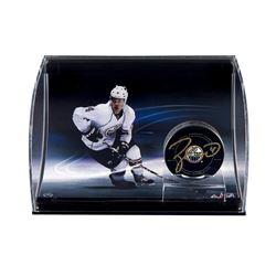 Taylor Hall Signed Oilers Logo Hockey Puck Curve Display (UDA COA)