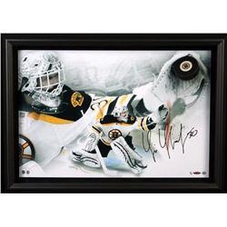 Tim Thomas Signed Bruins LE 20x28 Custom Framed Hockey Puck Display (UDA COA)