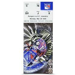 "Wayne Gretzky Signed ""Rangers vs Islanders"" LE 13x32 Mega Ticket Canvas Inscribed ""Goal 894"" (UDA CO"