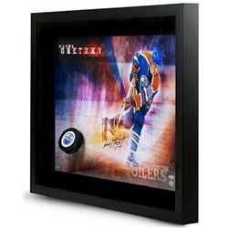 "Wayne Gretzky Signed Oilers ""Slap Shot Break Through"" 16x24 Custom Framed Photo Display (UDA COA)"