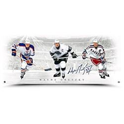 """Wayne Gretzky Signed """"Triple Threat"""" 15x36 Photo (UDA COA)"""