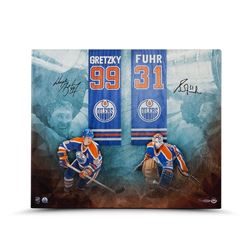Wayne Gretzky  Grant Fuhr Signed Oilers LE 20x24 Canvas (UDA COA)