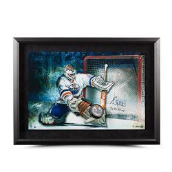 "Grant Fuhr Signed Oilers ""Save"" 16x24 Custom Framed Hockey Puck Break Through Display Inscribed ""5x"