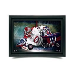 "Patrick Roy Signed Canadiens ""Save"" 16x24 Custom Framed Hockey Puck Break Through Display (UDA COA)"