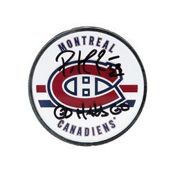 """Patrick Roy Signed Canadiens Logo Hockey Puck Inscribed """"Go Habs Go"""" (UDA COA)"""