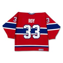 """Patrick Roy Signed Canadiens Jersey with Stanley Cup Centennial Patch Inscribed """"HOF 2006"""" (UDA COA)"""