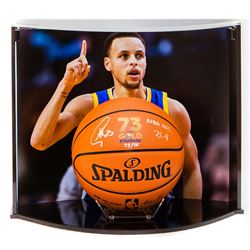 """Stephen Curry Signed NBA Game Ball Series """"73 Wins"""" LE Basketball Inscribed """"NBA Rec 73-9"""" with Cust"""