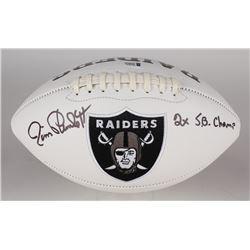 "Jim Plunkett Signed Raiders Logo Football Inscribed ""2x SB Champ"" (Beckett COA)"