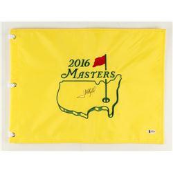 "Jose Maria Olazabal Signed 2016 Masters Tournament 13"" x 17.5"" Golf Pin Flag (Beckett COA)"