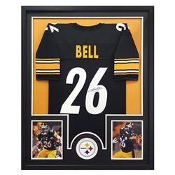 """Le'Veon Bell Signed Steelers 34"""" x 42"""" Custom Framed Jersey (JSA COA)"""