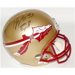 "Kelvin Benjamin Signed Florida State Full-Size Helmet Inscribed ""Noles 34 Tinger 31"" (Radtke COA)"