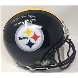 """Antonio Brown Signed Steelers LE Full-Size Authentic On-Field Helmet Inscribed """"17 Rec 284 Yds 11-18"""