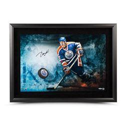 "Jari Kurri Signed Oilers ""Slap Shot Breaking Through"" 16x24 Custom Framed Hockey Puck Display (UDA C"