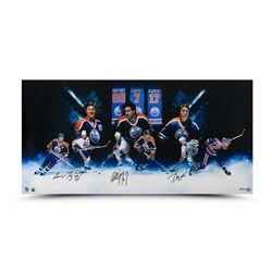 Wayne Gretzky, Paul Coffey  Jari Kurri Signed Oilers 18x36 Photo (UDA COA)
