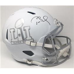 """Tom Brady Signed LE """"Super Bowl 51"""" Custom Matte White ICE Full-Size Speed Helmet (Steiner COA  TriS"""