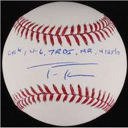 "Trea Turner Signed OML Baseball Inscribed ""Cycle - 4-6, 7 RBI, HR 4/25/17"" (MLB Hologram)"