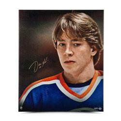 "Jari Kurri Signed Oilers ""Up Close  Personal"" 20x24 Photo on Canvas (UDA COA)"