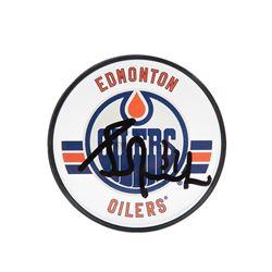 Grant Fuhr Signed Oilers Acrylic Hockey Puck (UDA COA)
